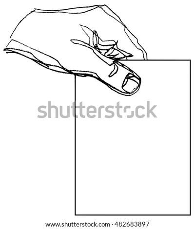 Line Art Illustration Puppet Master Hand Stock Vector