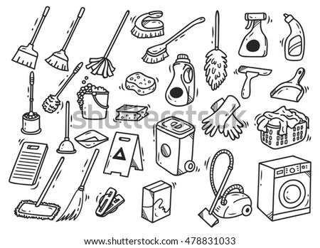 Cleaning Supplies Doodle Isolated On White Stock Vector