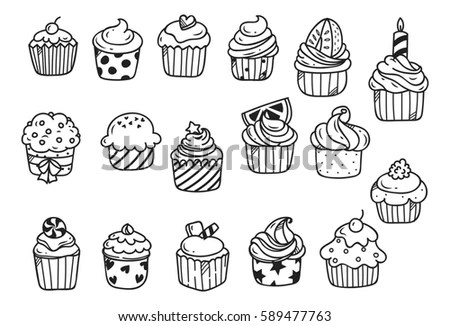 Sketches Cakes Cupcakes Isolated On White Stock Vector