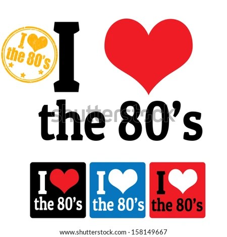 love 80's sign and labels