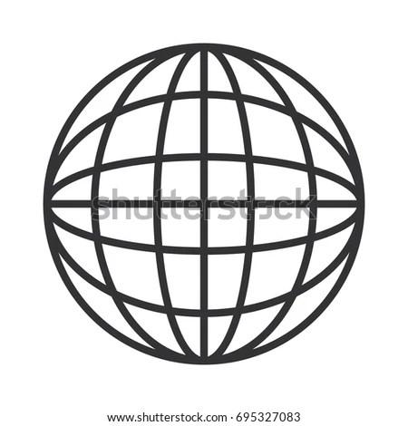 Flat Design Earth Globe Diagram Icon Stock Vector