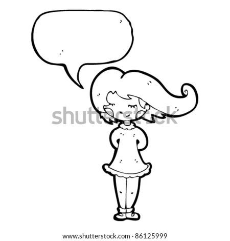 Pretty Cartoon Girl Hair Blowing Wind Stock Vector