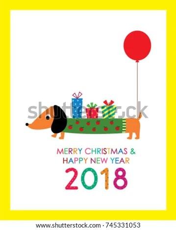 cute dachshund puppy merry christmas