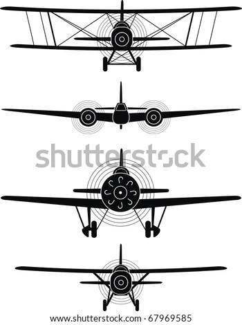 Black silhouettes of military aircraft of World War II, XX