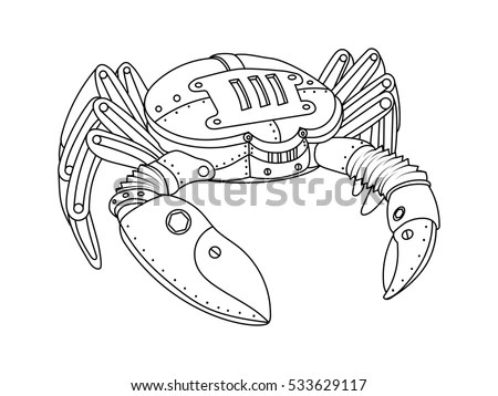 Steampunk Style Crab Mechanical Animal Coloring Stock