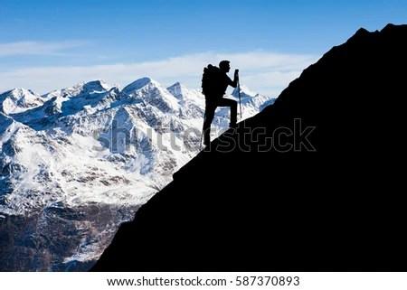 alps mountaineering adventure chair kid adirondack plastic silhouette man standing on top mountain stock photo 576687661 - shutterstock