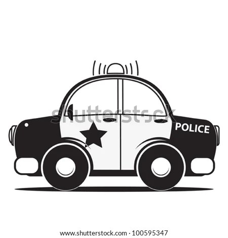 Police Car Silhouette Vector Illustration Stock Vector