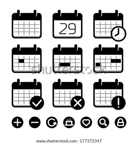 Calendar Date Vector Icons Set Stock Vector 131642018