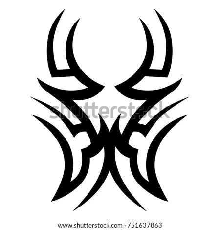 Angry Bull Head Horns Nose Ring Stock Vector 390869053