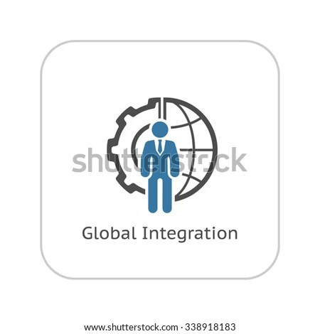 Global Integration Icon Flat Design Business Stock Vector