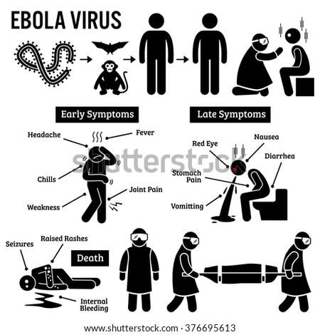 Ebola Virus Outbreak Stick Figure Pictograph Stock Vector