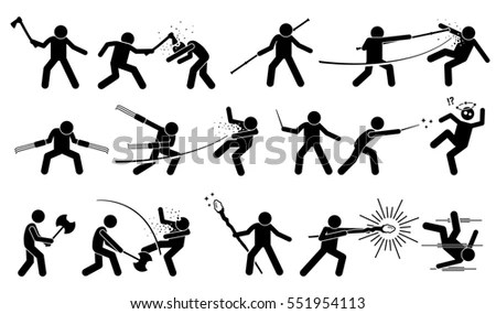 Street Fighting Attacking Stance Basic Hits Stock Vector