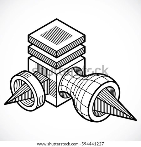 Abstract Threedimensional Shape Vector Design Cube Stock