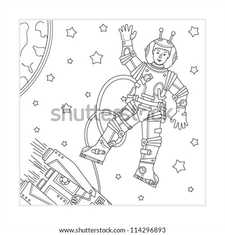 Coloring Page Kids Outer Space Astronaut Stock