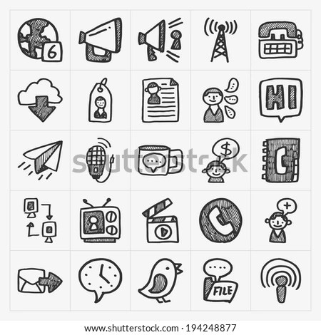 Blog Icon Set Clean Simple Outline Stock Vector 454017391