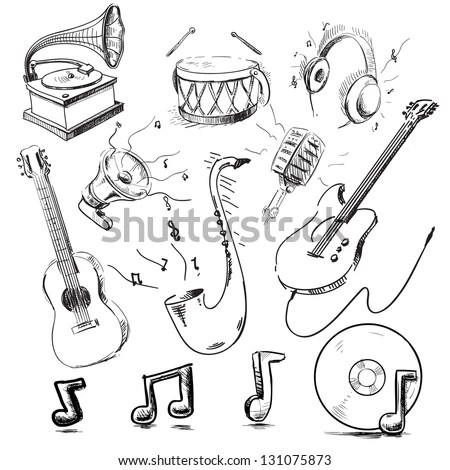 Vector Hand Drawn Set Brass Musical Stock Vector 572874271