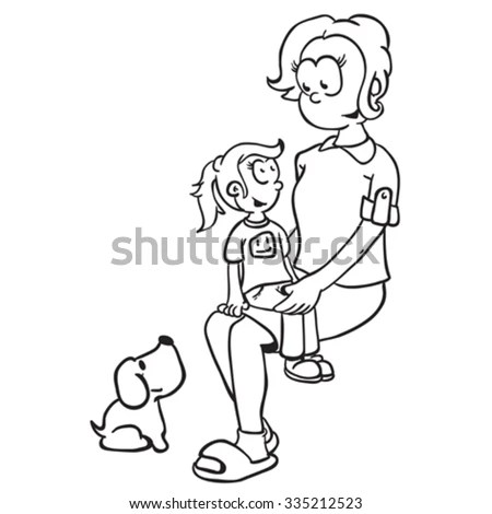 Girl Sitting On Knees Confused Young Stock Vector