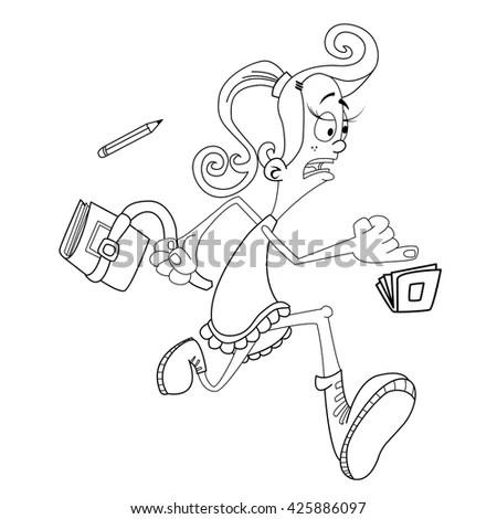 Simple Black White Girl Late School Stock Illustration