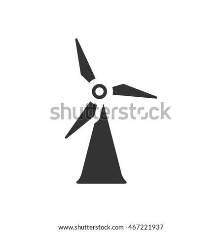 Wind Turbine Icon Metallic Grey Color Stock Vector