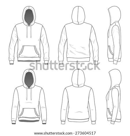 Blank Mens Hoodie Zipper Front Back Stock Vector 173048651