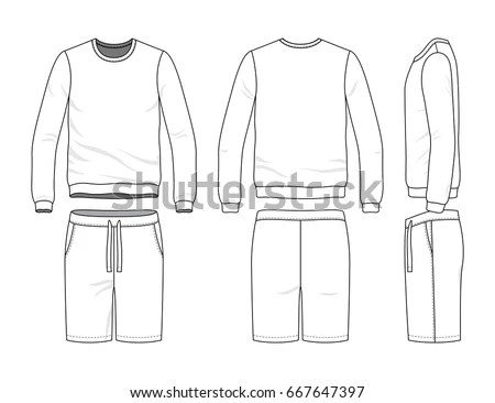 Mens Track Suit Blank Vector Templates Stock Vector