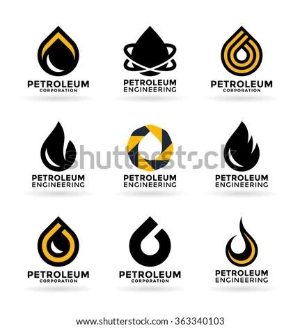 Set Petroleum Industry Symbols Logo Design Stock Vector