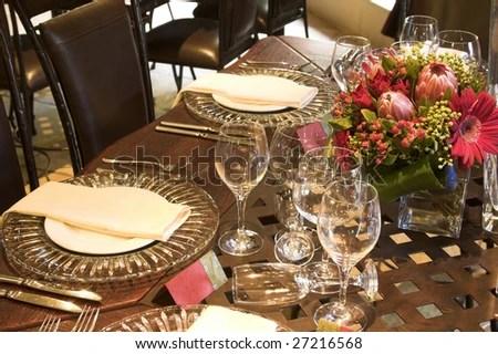 Wedding Table Setting Golden Coloured Plates Stock Photo