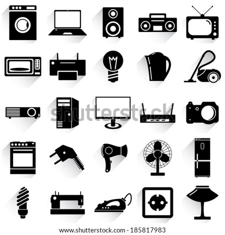 Electronic Devices Home Appliances Icons Stock Vector