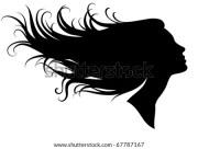 silhouette woman wild hair stock