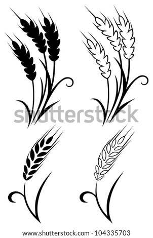 Wheat Ears Cereals Crop Sketch Decorative Stock Vector