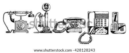 Phone Evolution Settypical Telephone Xviii Century Stock