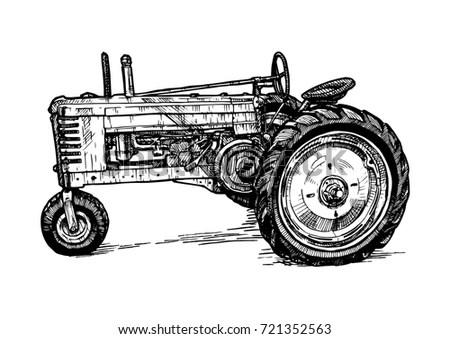 Vector Hand Drawn Illustration Retro Tractor Stock Vector