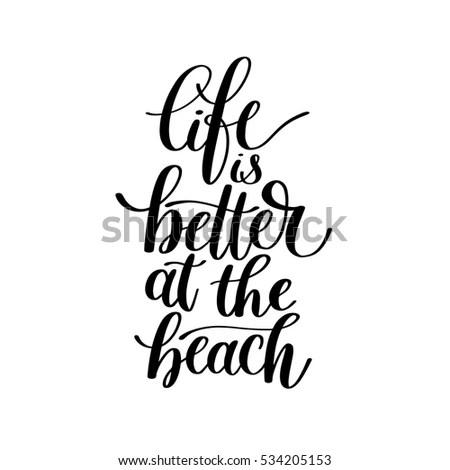 Life Better Beach Vector Text Phrase Stock Vector