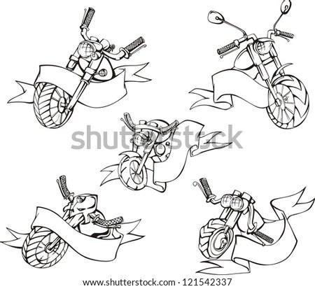Hand Drawn Illustrations Motocross Stock Vector 237942475