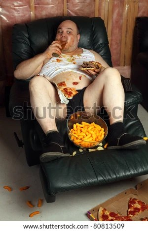 Photo Fat Couch Potato Eating Huge Stock Photo 76067524