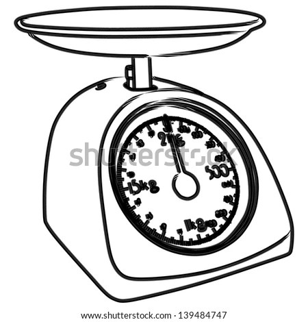 Kitchen Scale Vector Illustration Stock Vector 133055309