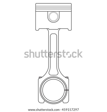 Car Piston Motorcycle Piston Flat Line Stock Vector