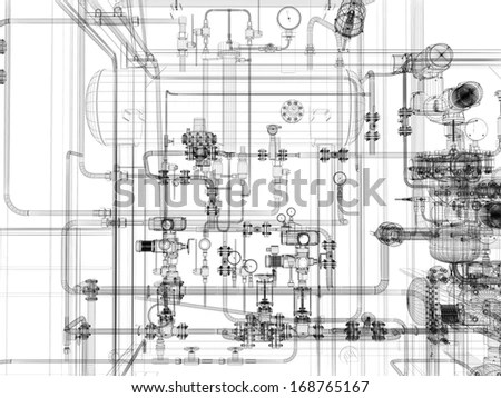 Wireframe Industrial Equipment On White Background Stock