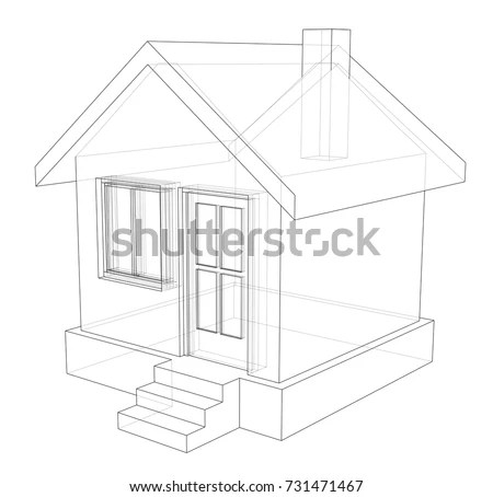 Architectural Drawing Home Perspective Stock Illustration