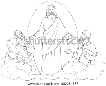 Bible Story Jesus Children Coloring Page Stock Vector