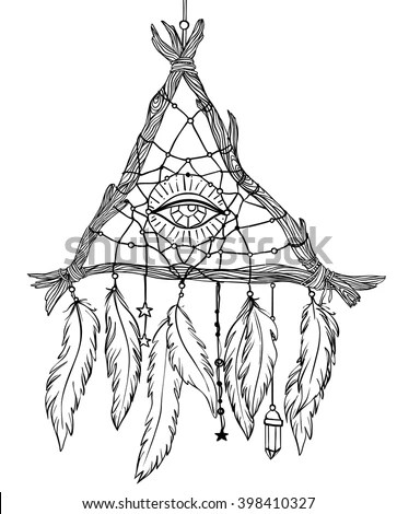 Hand Drawn Ink Magical Dream Catcher Stock Vector