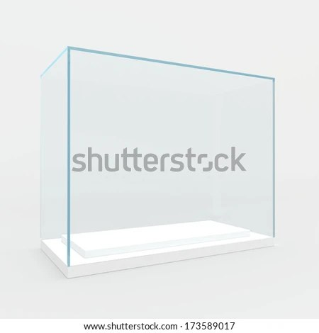 Blank Glass Award Over Gray Background Stock Photo