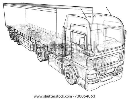 Model Trailer Truck Wireframe Eps10 Format Stock Vector