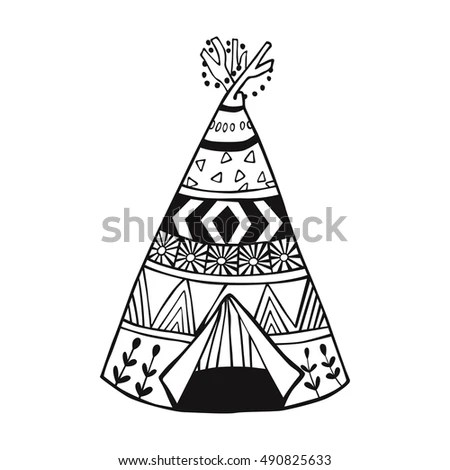 Illustration North American Indian Tipi Home Stock Vector