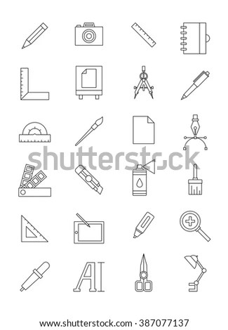 Line Icons Set Hiking Camping Tourism Stock Vector