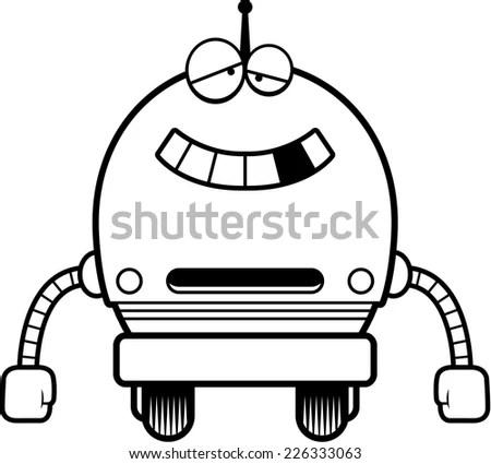 Smiling Robot Cartoon Character Vector Illustration Stock
