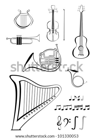 Vector Musical Instruments Pipes Harmonica Accordion Stock