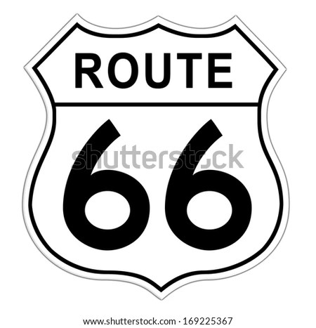 White White Route 66 Road Sign Stock Illustration