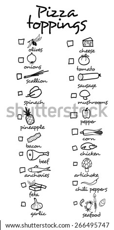 Pizza Toppings Pizza Menu You Can Stock Vector 266495729