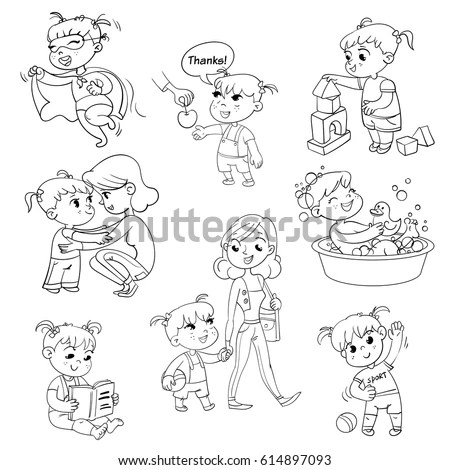 House Cleaning Girl Busy Home Watering Stock Vector
